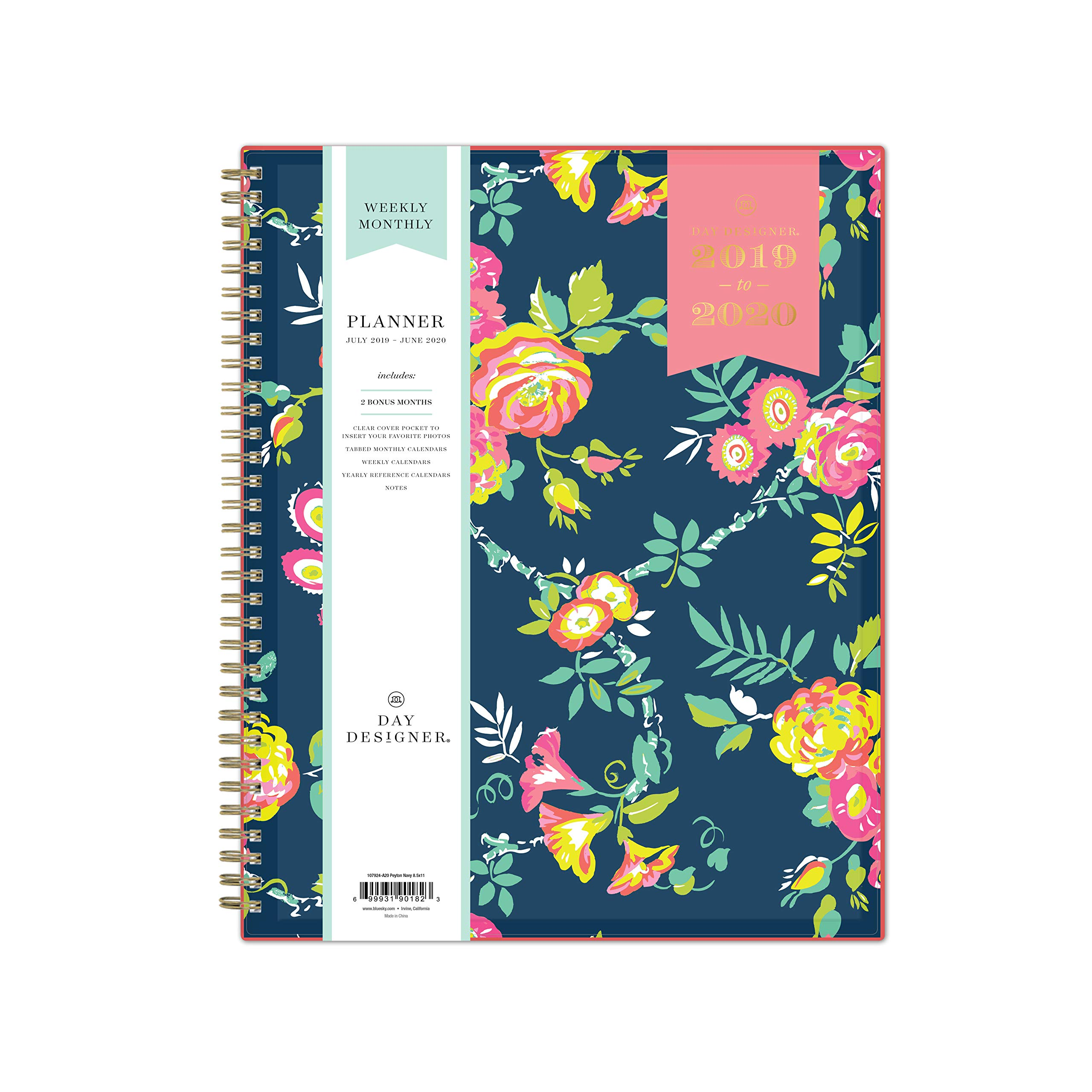 Day Designer for Blue Sky 2019-2020 Academic Year Weekly & Monthly Planner, Flexible Cover, Twin-Wire Binding, 8.5'' x 11'', Peyton Navy by Blue Sky