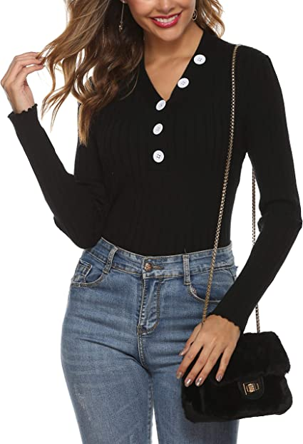 Tobrief Womens Henley Shirts Long Sleeve V Neck Ribbed Button Knit Sweater Solid Color Tops