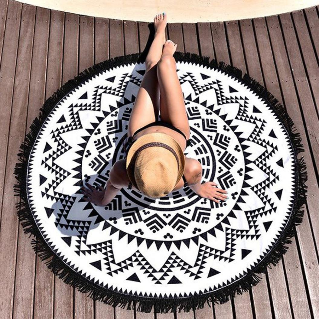 Multicolore B FEITONG Hippie Tapisserie Plage Throw Roundie Mandala serviette Tapis de yoga Bohemian