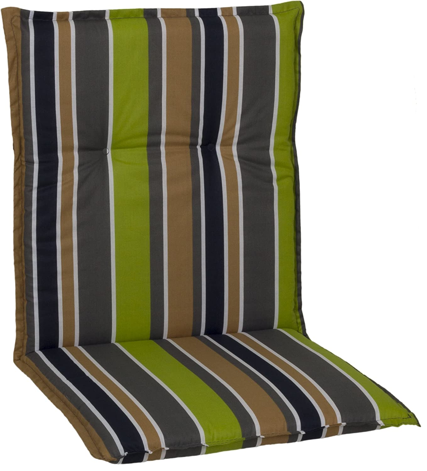 Garden chair cushion seating pad for low back chairs striped in dark gray, brown, beige, green and white Gartenstuhl-Kissen