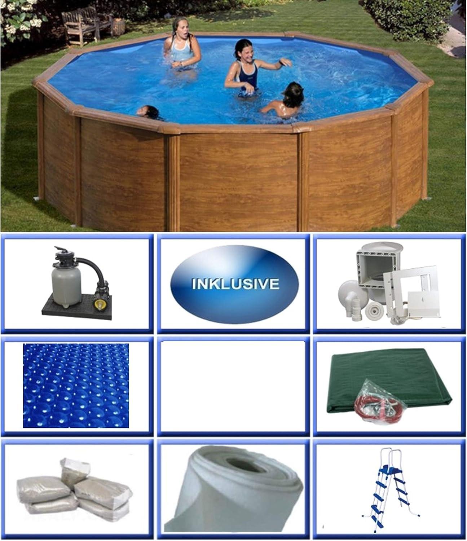 Summer Fun Juego de piscina de pared de acero, aspecto de madera, redondo, diámetro 3,50 m x 1,20 m, lámina de 0,3 mm, incluye set de piscina redonda / 350 x 120 cm piscina de pared de acero