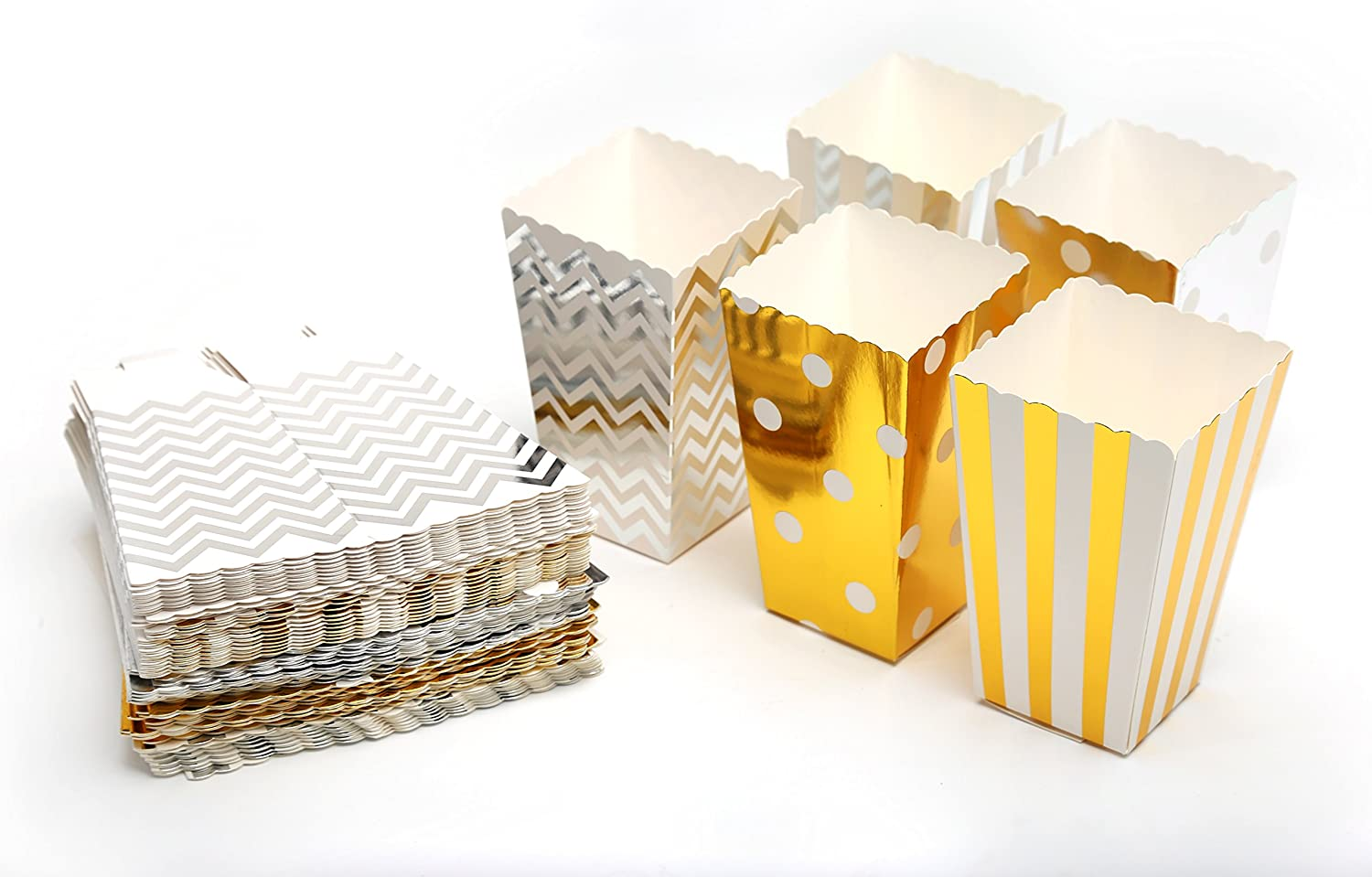 Smartkitch Popcorn Boxes Cardboard Candy Container 60pcs with 5 Pattern in Gold and Silver