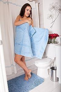Flato Cotton Shower Curtain 72 x 72 inch (Blue)