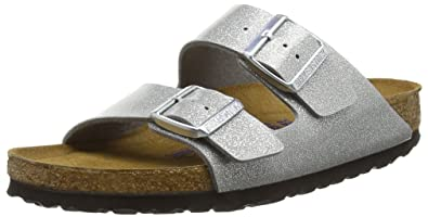 BIRKENSTOCK Classic Damen Arizona Birko-Flor Softfootbed Pantoletten, Silber (Magic Galaxy Silver), 42 EU