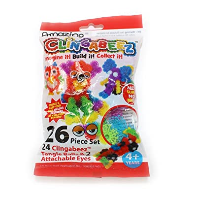 26 Piece Clingabeez Set with 1 Set of Eyes - 24 Tangle Balls & 2 Attachable Eyes by Clingabeez