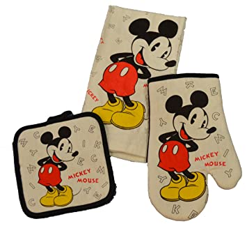 Amazon.com: Disney 3 Piece Kitchen Set Mickey Mouse Letters: Home ...