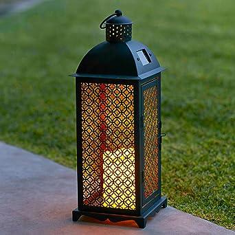 lights4fun grande lanterne solaire marocaine en mtal avec bougie led pour jardin - Lanterne De Jardin