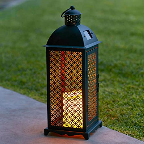 Exteriores De En Vela Jardín Estilo Lights4fun Y Metálico Marroquí Farolillo Led Solar Para DWH2EI9Y