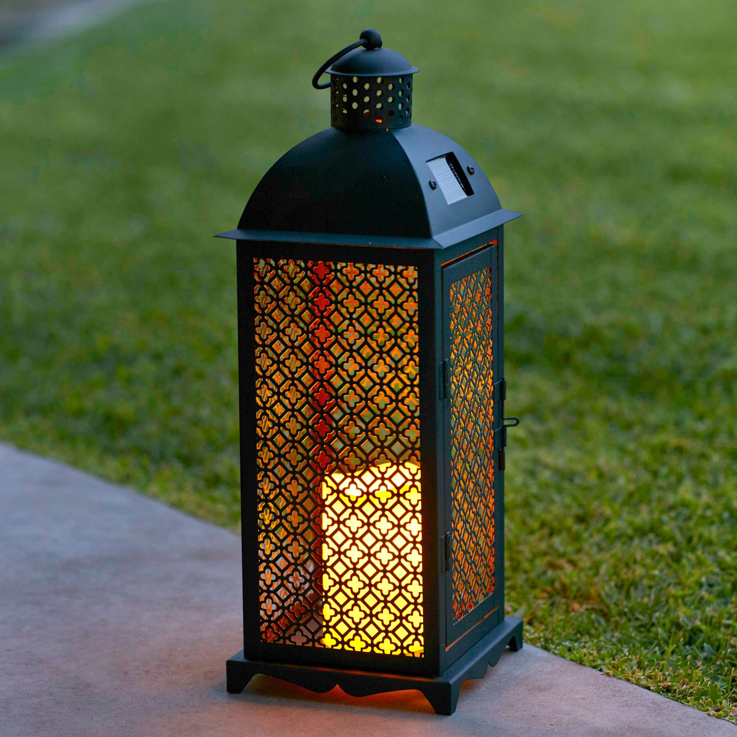 Lights4fun, Inc. Moroccan Solar Powered LED Outdoor Fully Weatherproof Garden & Patio Flameless Candle Lantern