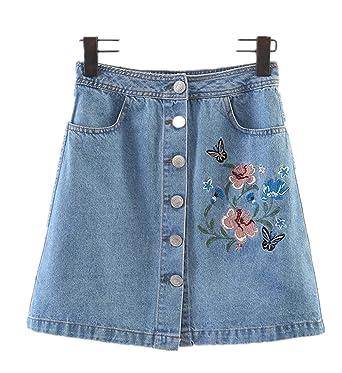 e37fc30bc1 Womens Moto Rose Embroidered Back Split A Line Mini Denim Skirt with  Pockets Blue