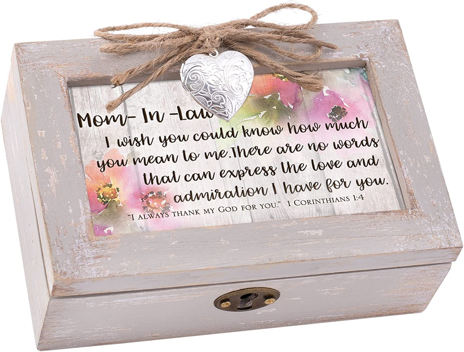 Cottage Garden Mother in Law Love for You Natural Taupe Wood Locket Petite Music Box Plays How Great Thou Art