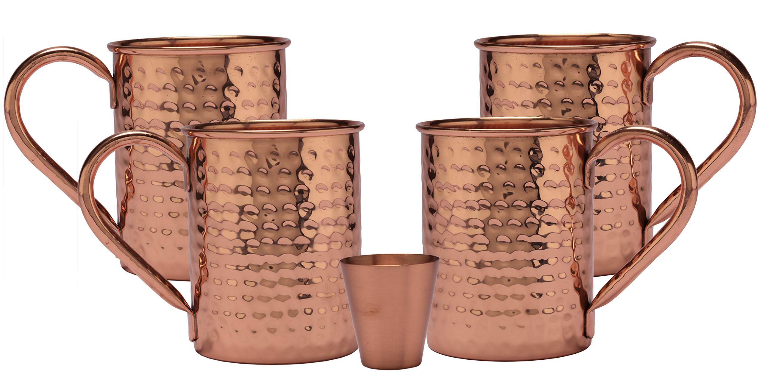 Melange 24 Oz Copper Classic Mug for Moscow Mules, Set of 4 with One Shot Glass - 100% Pure Hammered Copper - Heavy Gauge - No Lining - Includes Free Recipe Card