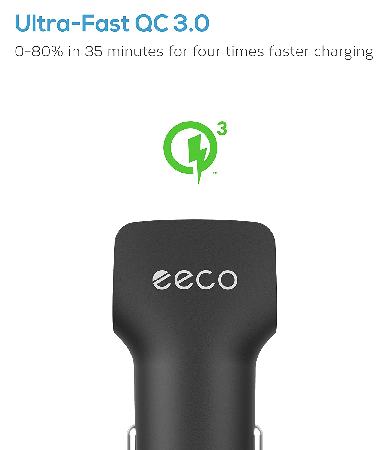 Nexus in Car Charger Quick Charge 3.0 HTC and More iPad Pro//Air Note 8 smartIC Charging for iPhone X//8//7//6s//Plus LG eeco 18W USB High Speed Car Charging Adapter for Galaxy S8//S7//S6//Edge//Plus