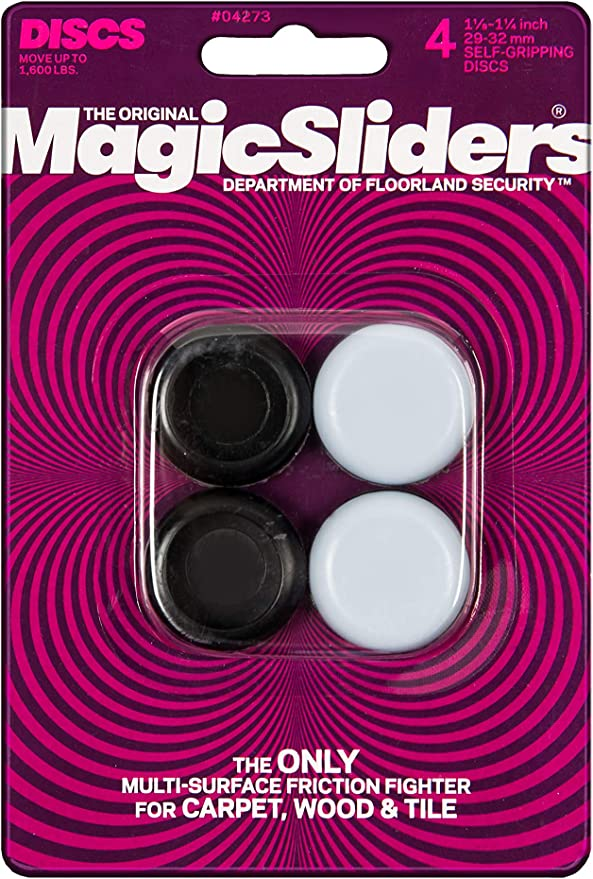 "New Magic Sliders 4/"" Diameter Furniture Movers Pack of 4 Discs Sealed"