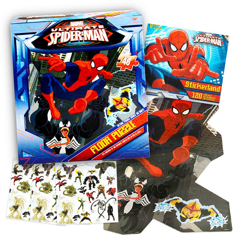 Marvel Spiderman Giant Floor Puzzle for Kids (3 Foot Puzzle, 46 Pieces-- Bonus Spiderman Stickers)