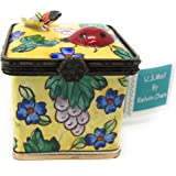 Kelvin Chen Enameled Postage Stamp Dispenser   Floral With 3 D Ladybug And  Butterfly,