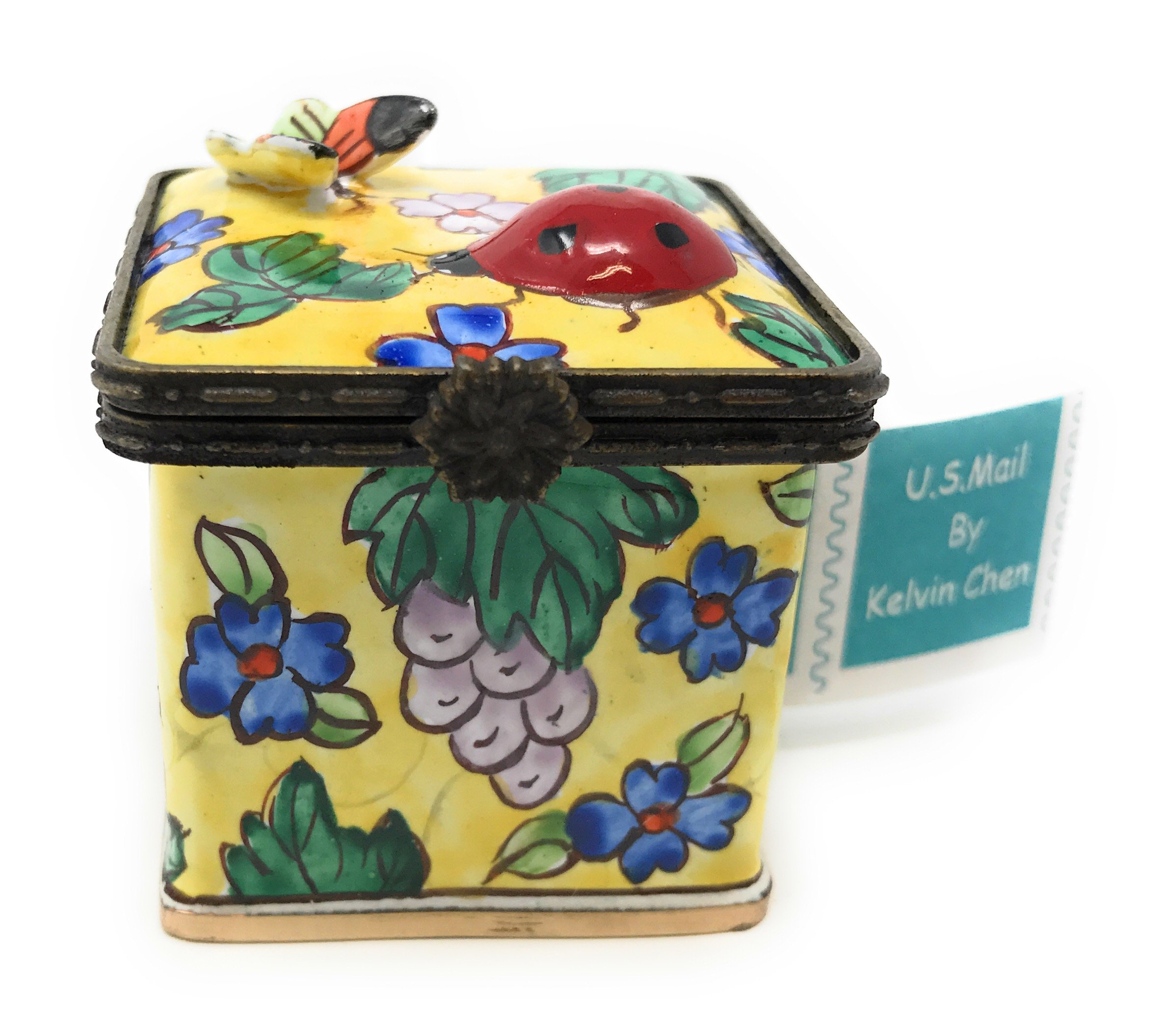 Kelvin Chen Enameled Postage Stamp Dispenser - Floral with 3-D Ladybug and Butterfly, 1.75 Inch Square