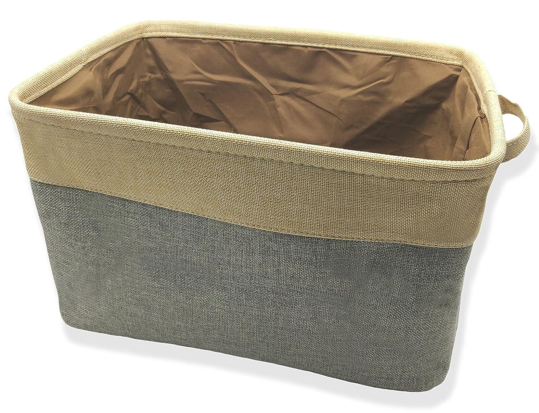 Cestas de almacenamiento plegable grande para ropa de lavandería, organizador de lino y algodón, organizador abierto de almacenamiento superior abierto de Q-SEVEN., tela, Beige+Brown (Two-Tone), 1 unidad QSEVEN