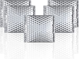 Thermal Insulated Bubble Mailers 6x6 Food Grade Padded envelopes 6 x 6 by Amiff. Pack of 25 Silver Cushion envelopes. Peel and Seal. Metallic foil. Mailing, Shipping, Packing, Packaging.