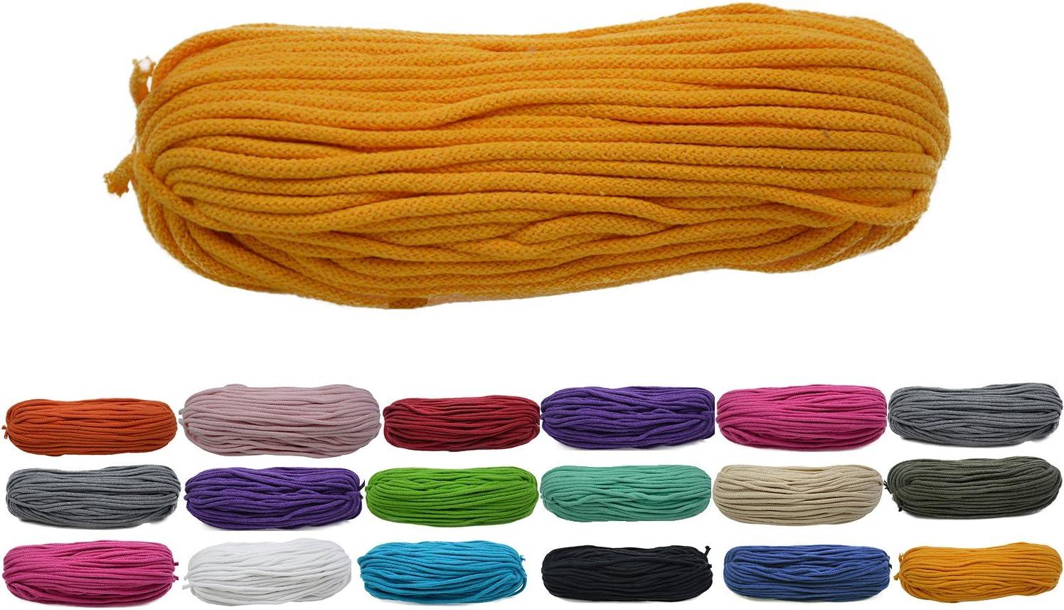 Roban Fashion 50m Baumwollkordel 5mm breit gelb