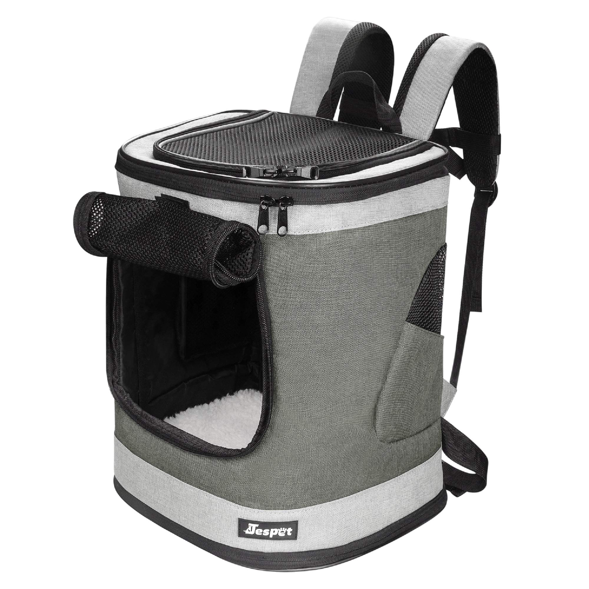 JESPET Pet Backpack Carrier for Small Dog, Puppy, Cat Carrier Backpack Ideal for Traveling, Hiking, Walking and Outdoor Activities with Family (Smoke Grey)