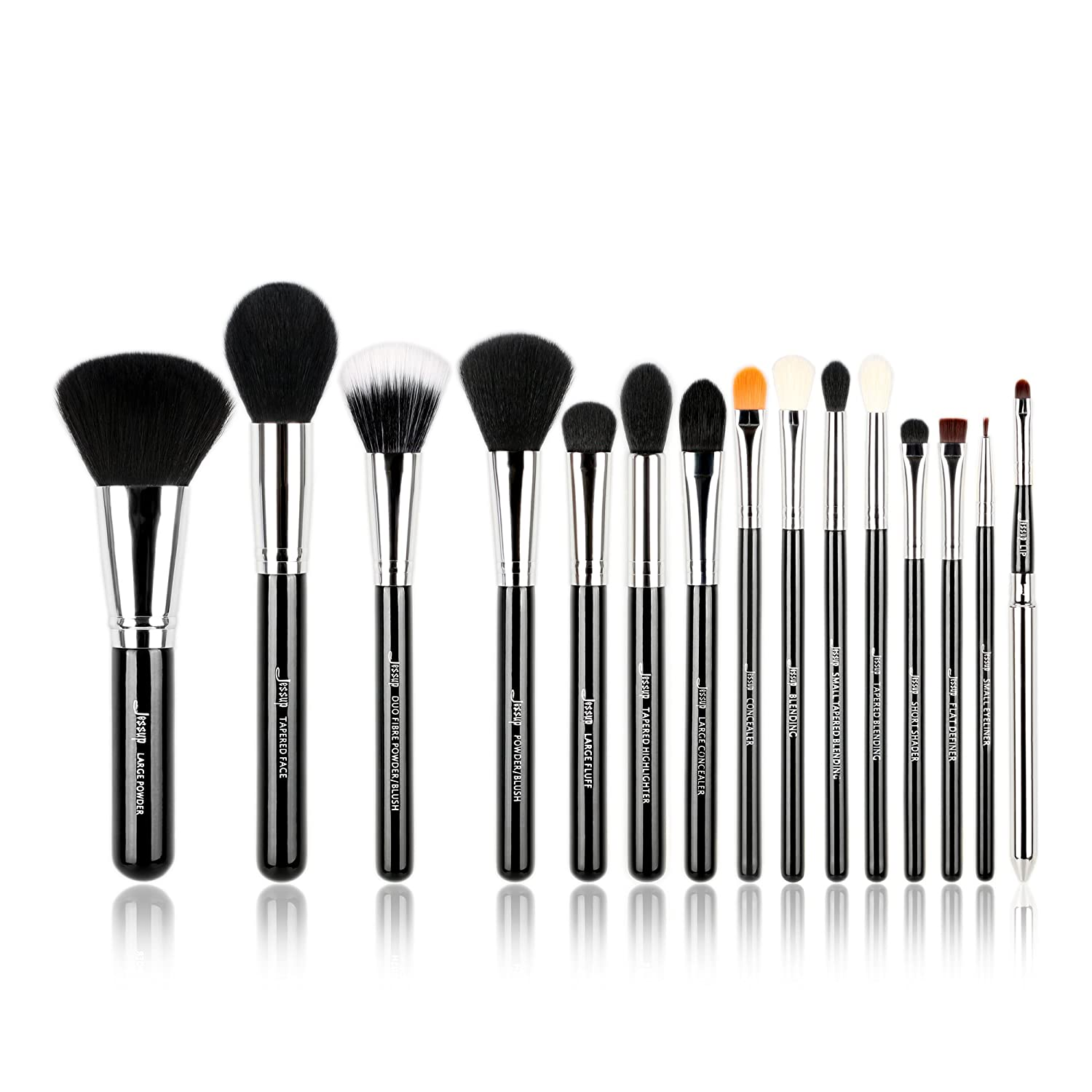 Jessup Pro Makeup Brushes 15 Pcs Makeup Brush Set Beaury Cosmetics Make Up Powder Foundation Eyeshadow Eyeliner Blending Lip Brush Tools (Black/Silver) T092 Mankalun