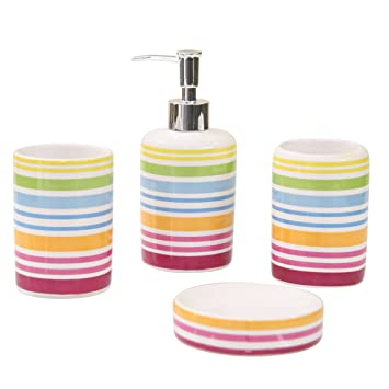 axentia rio 282460 set of 4 bathroom accessories ceramic