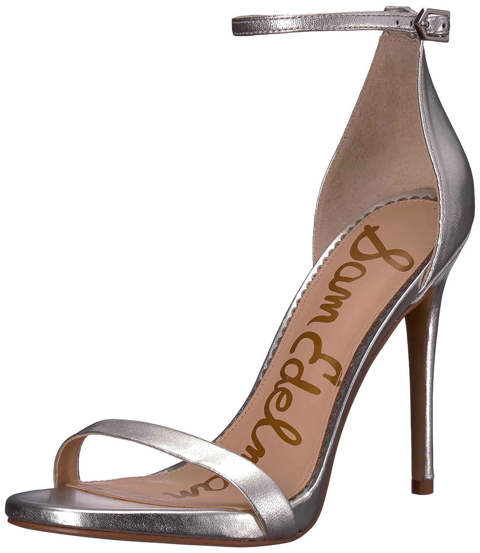 Soft silver metallic leather Sam Edelman Womens Ariella Heeled Sandal