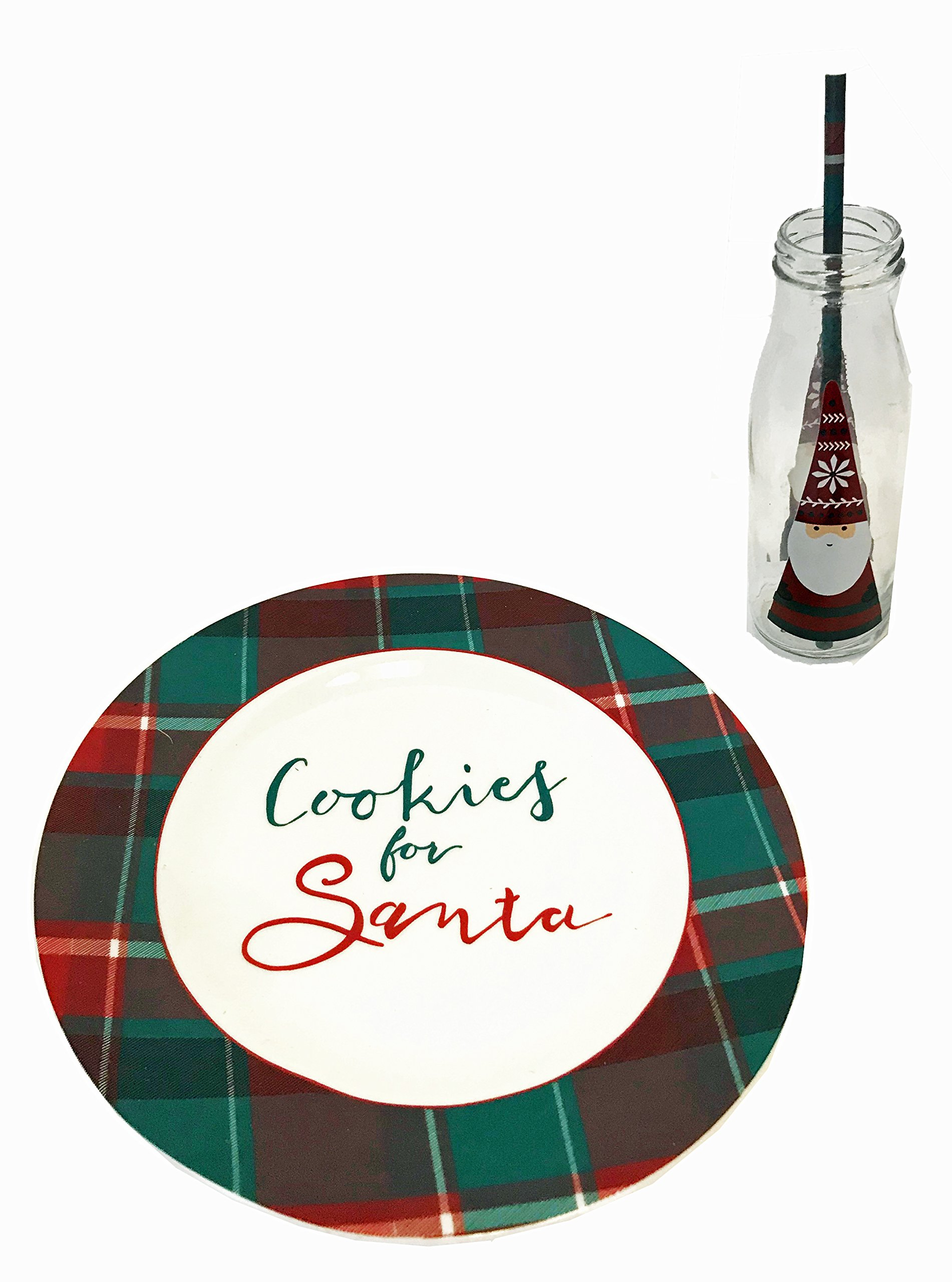 Cookies For Santa Christmas Gift Set with Plate, Milk Bottle and Straw, Plaid (Plaid)