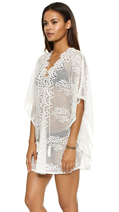 1bfa492541 MG Collection Sheer White Crochet Swimsuit Coverup Fashion V Neck Beach  Dress at Amazon Women s Clothing store