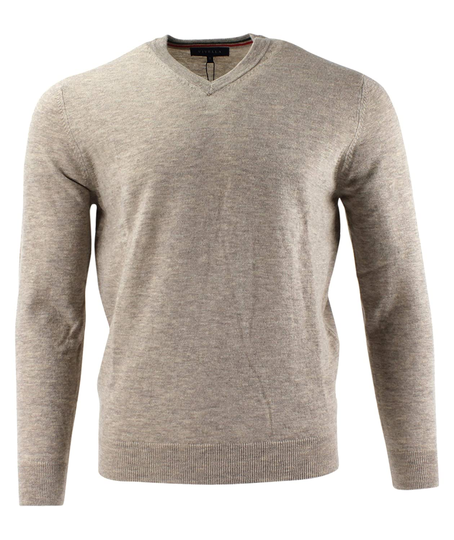 Viyella Plain Beige V Neck Merino Wool Jumper