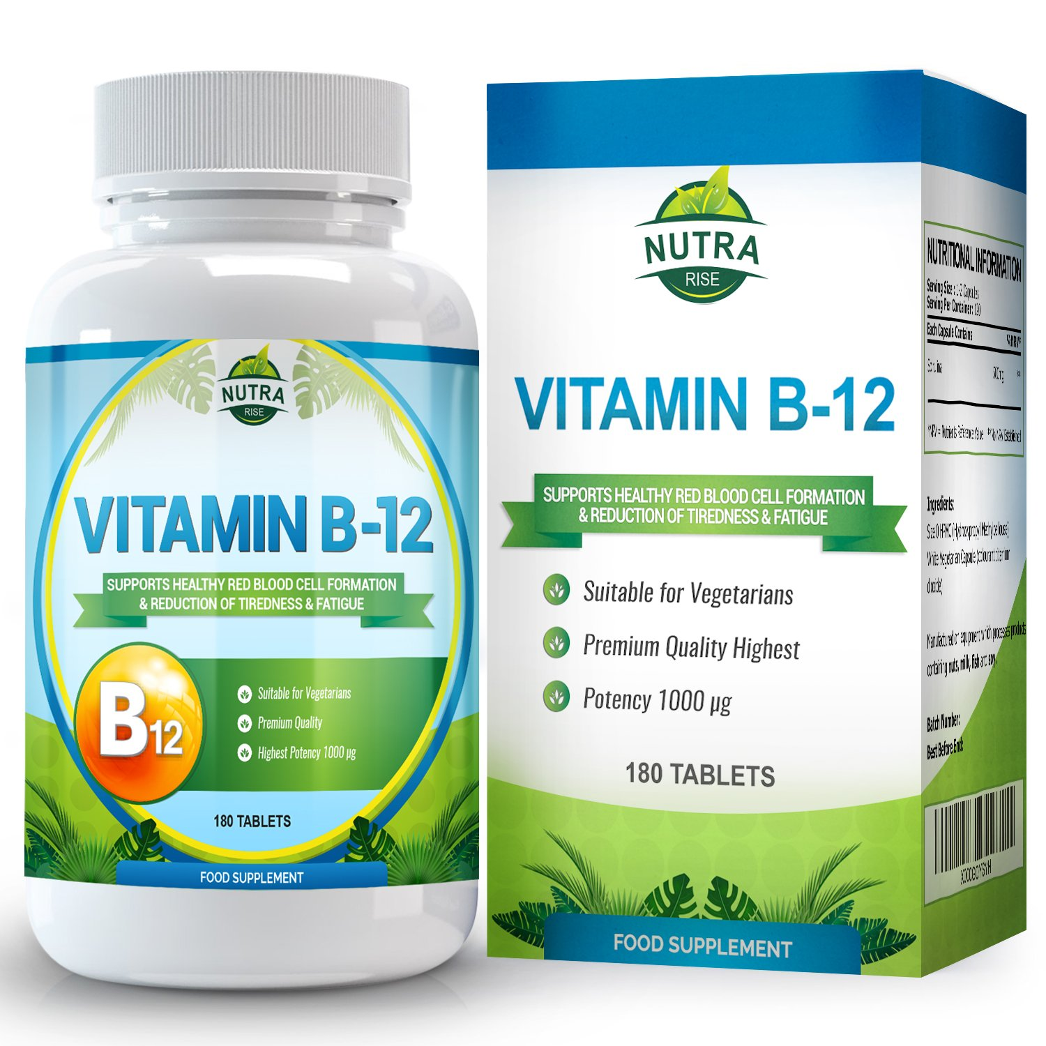 Amazon.com: Vitamin B12, Cyanocobalamin, High Strength Complex for B12 Deficiency, Vit B 12 Brain Supplement that Helps with Memory and Nerve Support - 180 ...