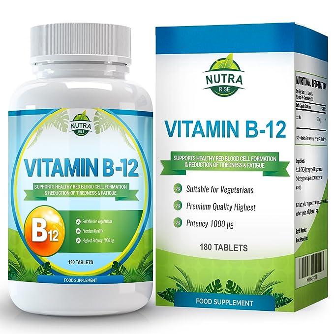 Vitamina B12, Metilcobalamina, complejo de alta concentración para la deficiencia de B12. Suplemento de Vitamina B12 para el cerebro que ayuda al sistema ...
