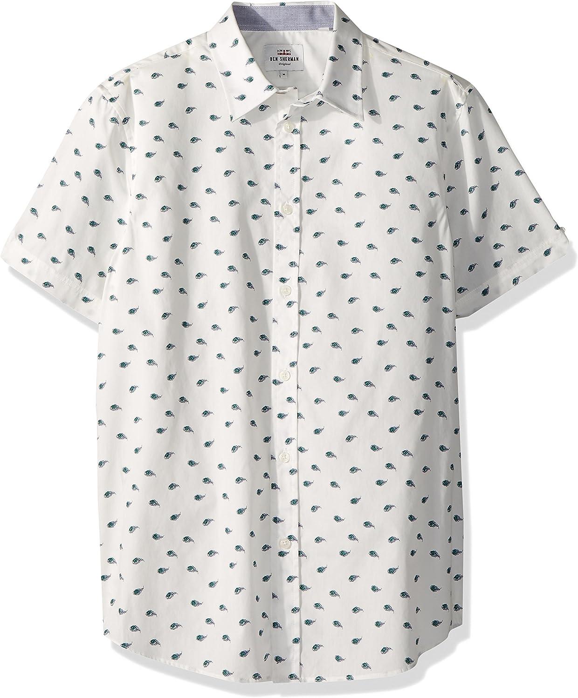 Ben Sherman Hombre MA18S49026 Manga corta Camisa de botones - Blanco - Medium: Amazon.es: Ropa y accesorios
