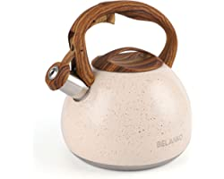 Tea Kettle, 2.7 Quart BELANKO Teapot for Stovetops Wood Pattern Handle with Loud Whistle Food Grade Stainless Steel Tea Pot W