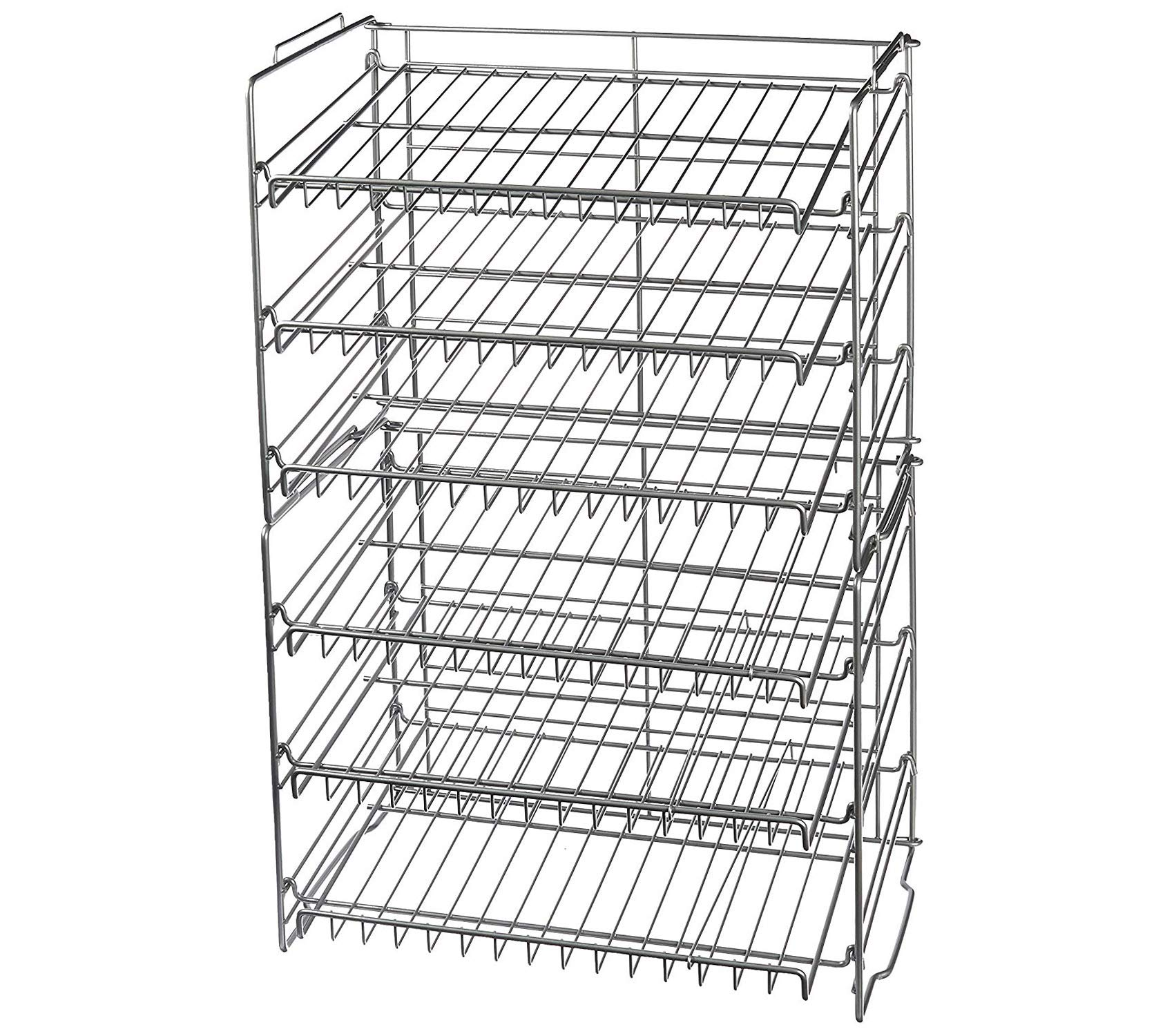 Аtlаntic Premium Gravity-Fed Compact Double Canrack Kitchen Organizer Durable Steel Construction Stackable or Side-by-Side in Silver Storage by Аtlаntic