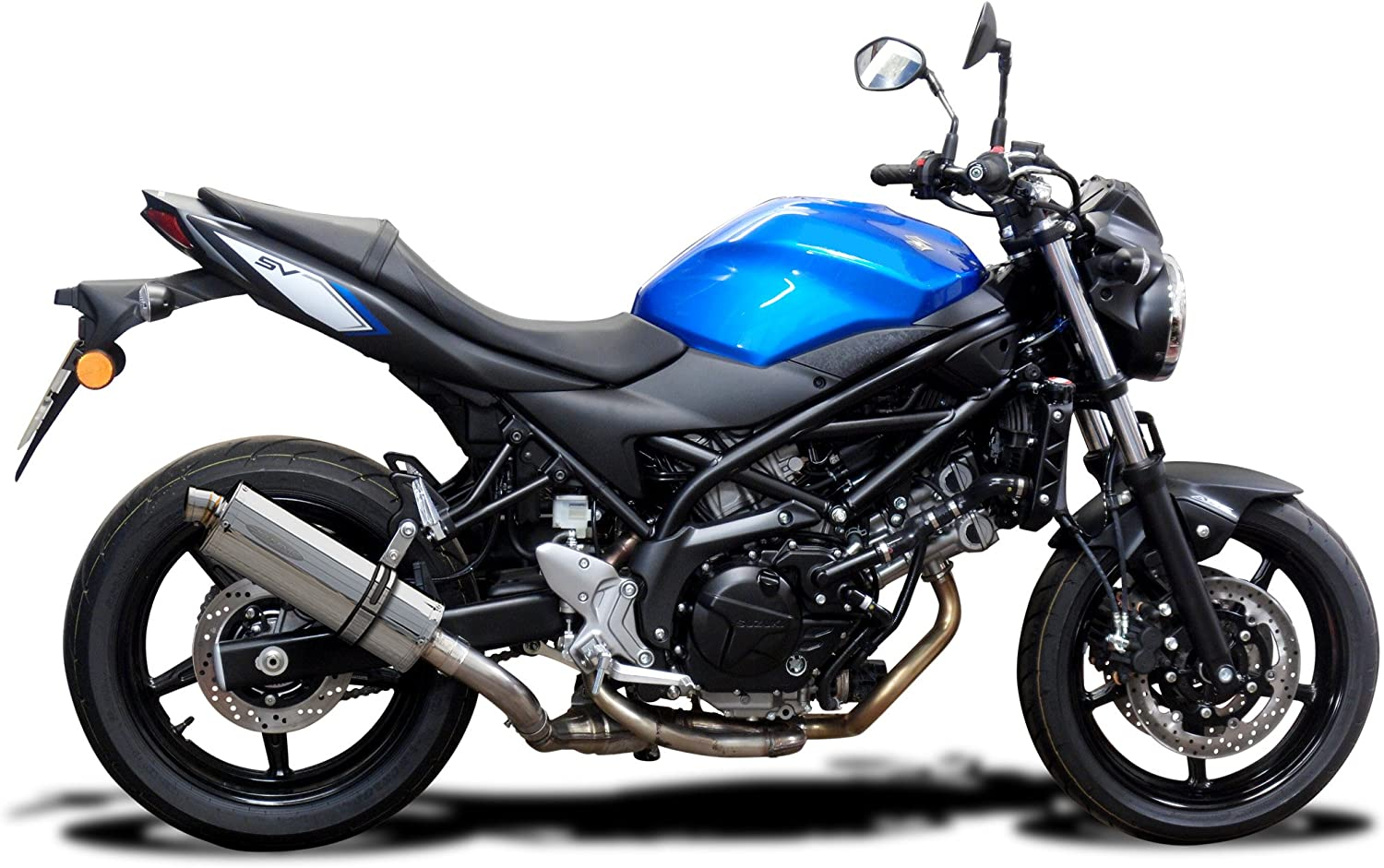 Delkevic Aftermarket Slip On compatible with Suzuki SV650 Stubby 14 Stainless Steel Oval Muffler Exhaust 17-20