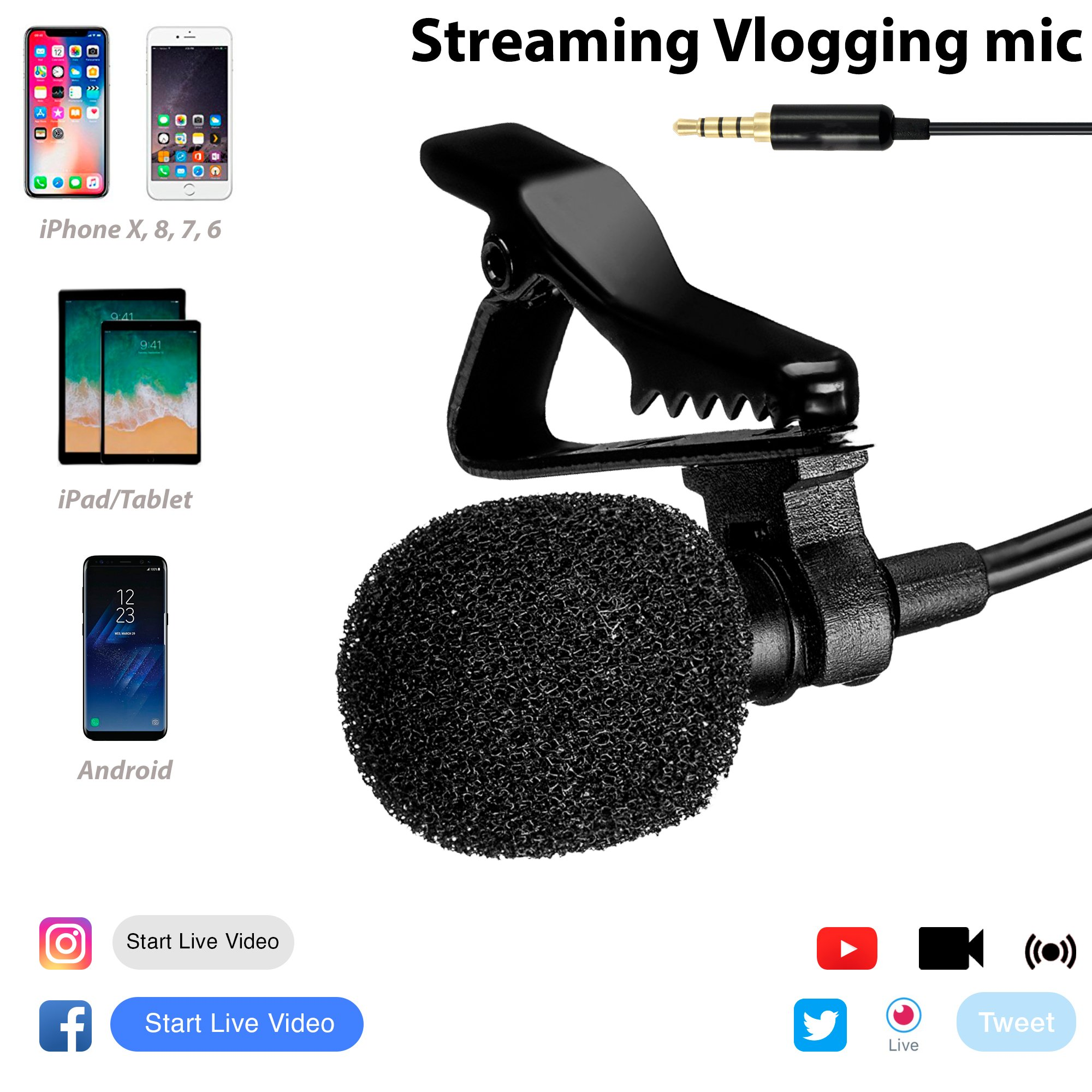 PC Streaming Mic/Microphone - Live Streaming/Stream Microphone for Podcast/Youtube/Facebook/Twitch/Interview - Vlogging/Vlog Microphone for iPhone 5 5s 5c SE 6 Plus 6s Plus 7 Plus 8 X
