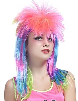 Peluca multicolor cantante rock mujer - Única