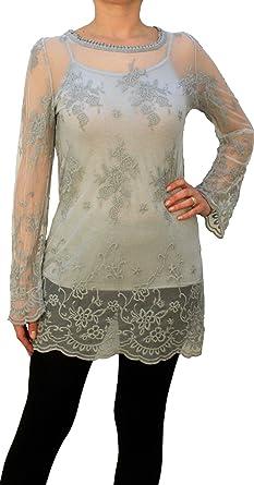 e39da1d9ff068a 08516 PERANO Damen Bluse Tunika Spitzenbluse Farbe Grau Konfektionsgröße 42  Internationale Größe XL grau Gr.