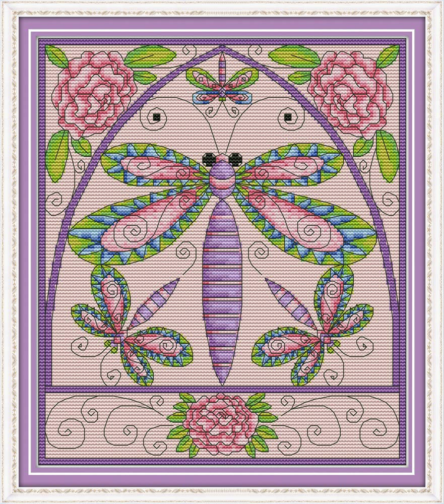 Stamped or Counted Cross Stitch Kits Dragonfly Flower Awesocrafts Easy Patterns Cross Stitching Embroidery Kit Supplies Christmas Gifts Dragonfly, Counted