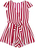 Romwe Women's Casual Vertical Striped Jumpsuit Romper with Belt