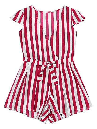 c9feabc85fb Amazon.com  Romwe Women s Casual Vertical Striped Jumpsuit Romper ...
