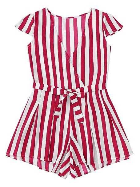 cc8f6487b6dd Amazon.com  Romwe Women s Casual Vertical Striped Jumpsuit Romper ...