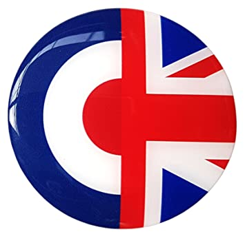 113e072c72d Moped Scooter Sticker Decal Round Badge Mod Target Union Jack Resin Gel 3D  Domed Badge 80mm