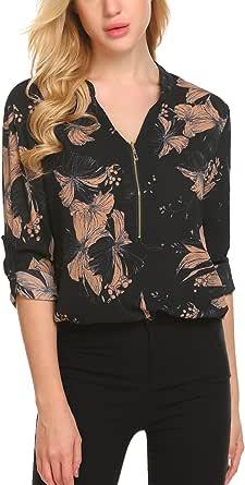 SE MIU Women Casual Long Sleeve V Neck Zipper Floral Printed Office Chiffon Blouse Top