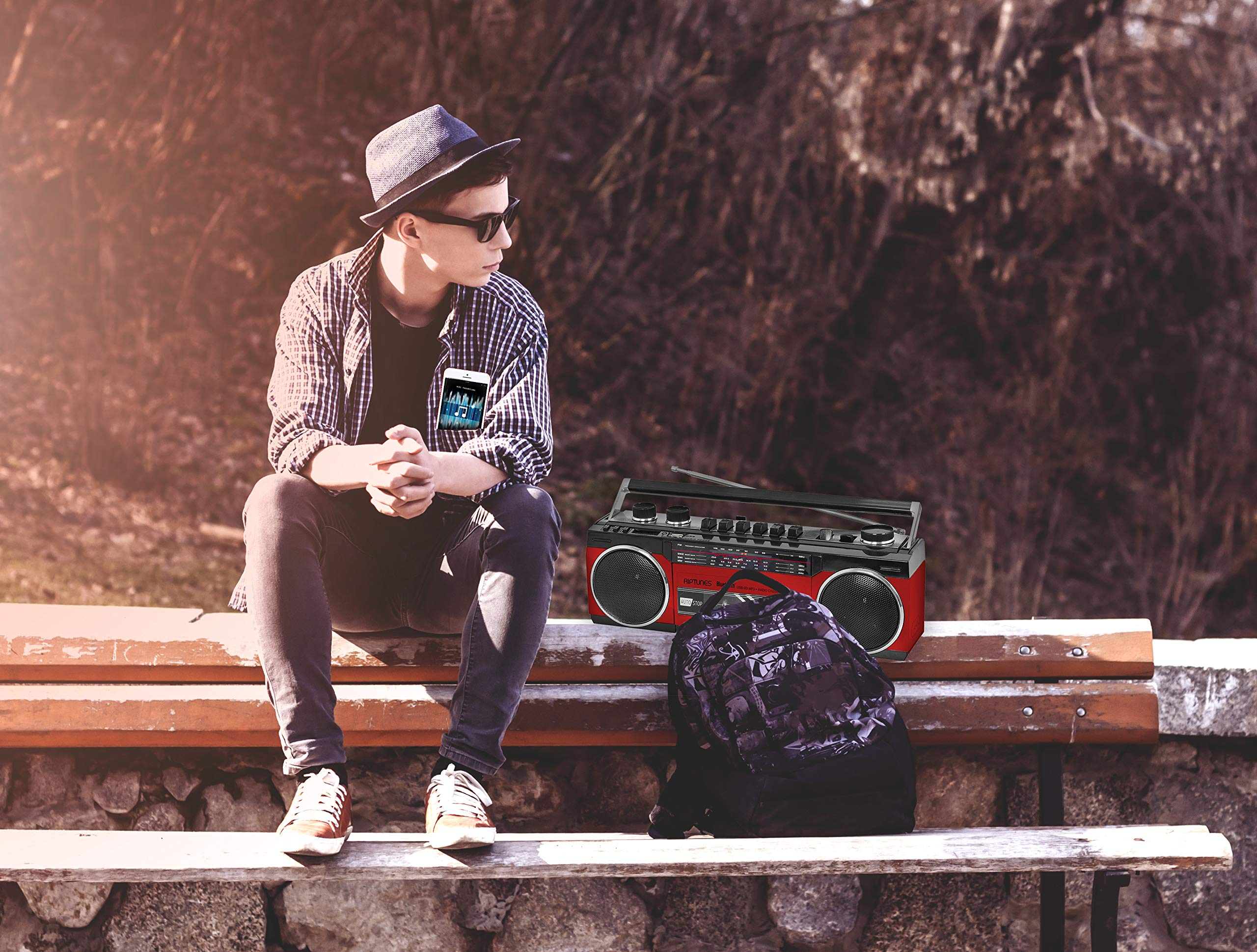 Riptunes Cassette Boombox, Retro Blueooth Boombox, Cassette Player and Recorder, AM/FM/SW-1-SW2 Radio-4-Band Radio, USB, and SD, Headphone Jack, RED by Riptunes (Image #2)