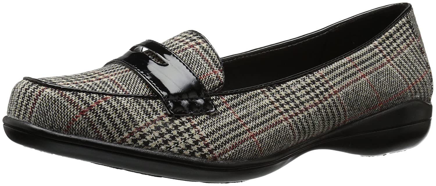 Soft Style by Hush Puppies Women's Daly Loafer B01MTC6BGG 8 W US|Black Plaid/Patent