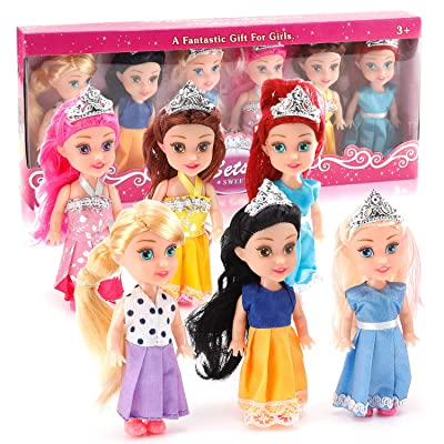 Liberty Imports 6 PCs Miniature Pocket Princess Dolls with Dresses Girls Play Set Collection (4.5-Inches): Toys & Games [5Bkhe0704098]