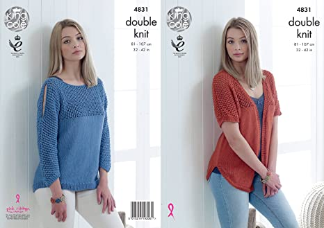 585e516d6 King Cole 4831 Knitting Pattern Womens Cardigan and Sweater in King Cole  Smooth DK  Amazon.co.uk  Kitchen   Home